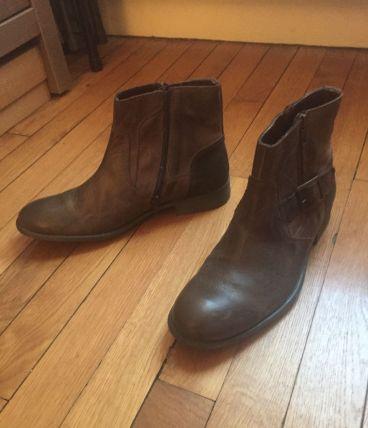 Boots cuir homme marron