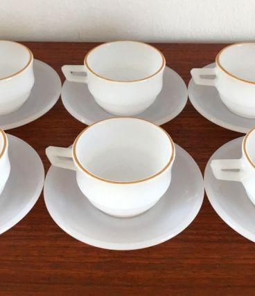 6 tasses à café Arcopal vintage années 70