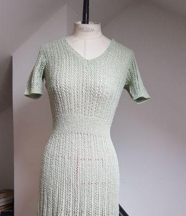 robe en crochet vintage vert pale