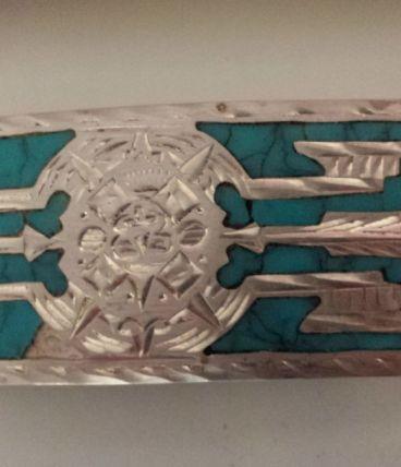 Vintage Boucle de ceinture USA années 70 Argent/Turquoise un