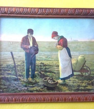 Tableau ancien d'une scène paysanne (reproduction)