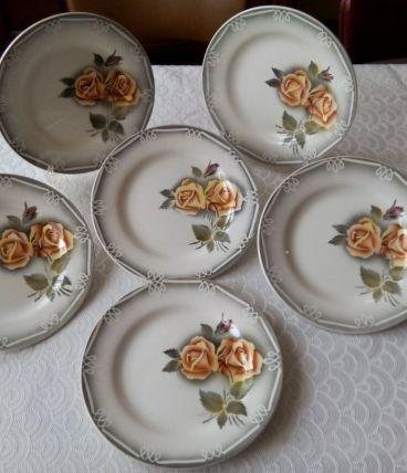 Six assiettes plates Faïence DIGOIN SARREGUEMINES