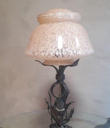 lampe fer forgé martelé avec spiral et torsades 1920  art de