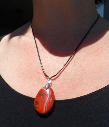 pendentif pierre Jaspe rouge