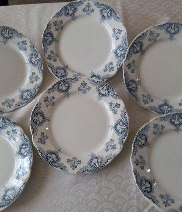 """Six assiettes plates K&G LUNÉVILLE Décor """" EUROPE """""""