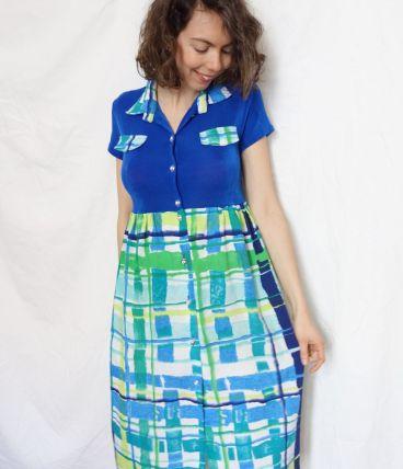 Petite robe d'été cousue main bleue vintage 70's