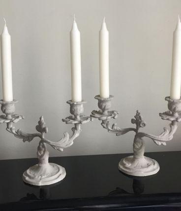 Paire de chandeliers, décoration shabby chic