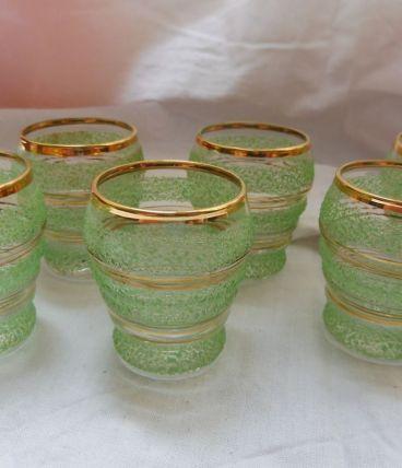Lot 6 verres liqueur vintage givrés granités