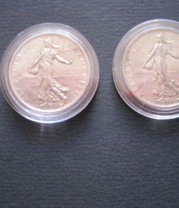 2 Pièces 5 Francs Argent Semeuse 1960 dans capsule de protec