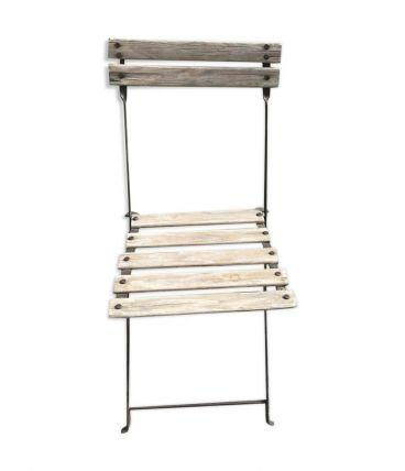 Chaise de guinguette pliante en métal et bois vintage