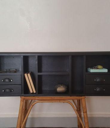 Étagère / meuble courrier noir 4 tiroirs
