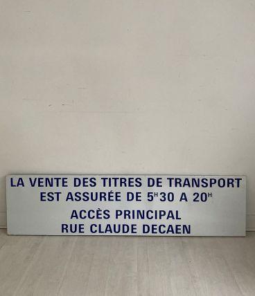 """Plaque de métro parisien """"Vente de Tickets"""""""