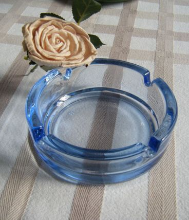 Cendrier verre bleu transparent Vintage 70'S