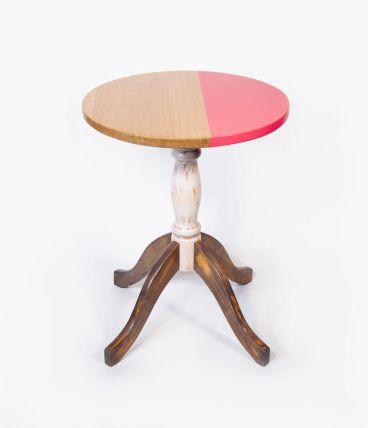 Table bistrot chêne massif rose et bois blond