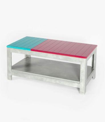 Table basse colorée bois massif effet béton avec rangement