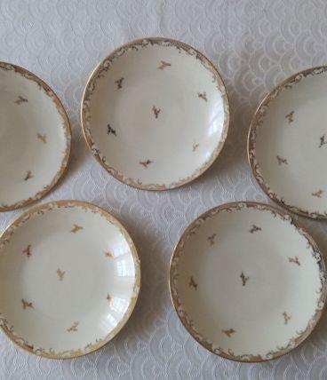 5 assiettes à dessert Porcelaine de Limoges. Raynaud&Cie 196