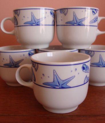 Lot de 6 tasses à café vintage en porcelaine