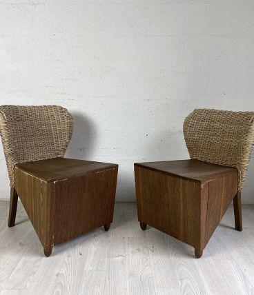 Paire de fauteuils en bois et osier vintage 50's