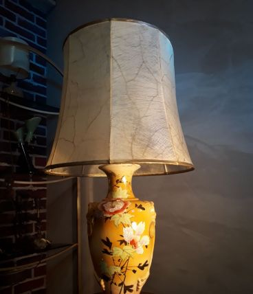 lampe chinoise belle deco fleurale  68x35 abat jour peau  na