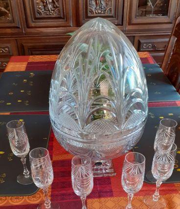 cave à champagne forme œuf et 6 flûtes cristal de lorraine