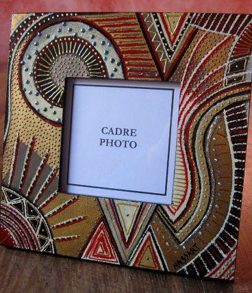 Cadre photo avec verre à poser en bois décoré main