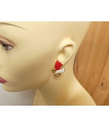 Boucles d'oreilles vintage en émail rouge et crème, fermoir