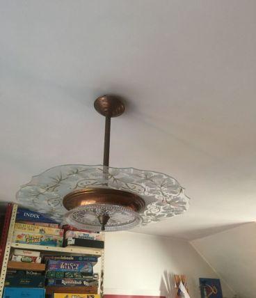 Luminaire Lustre Cuivre Laiton et Verre moulé années 50 60