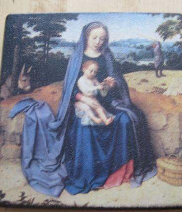 panneau de bois avec reproduction  religion