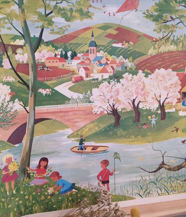 """Affiche d'école ancienne """"Le printemps"""" image de la vie"""