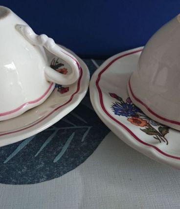 2 tasses et leur coupelle Agreste Sarreguemines