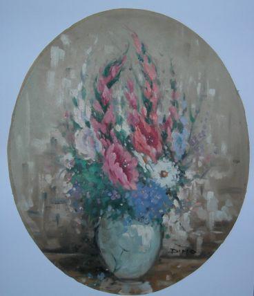 Ancien tableau bouquet de fleurs-huile sur toile signée Dimo