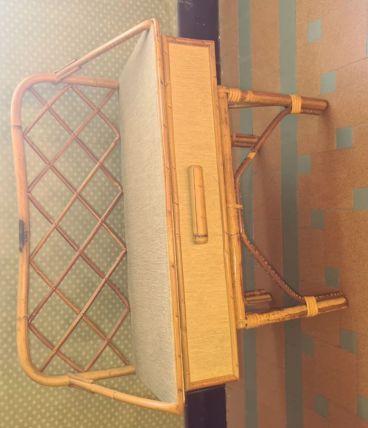 Table de chevet en rotin vintage