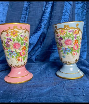 Lot de 2 mazagrans en porcelaine de Couleuvre