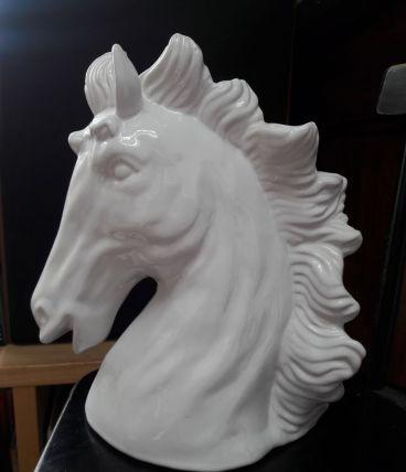 Statue buste de cheval en céramique vernissée Blanc Tête