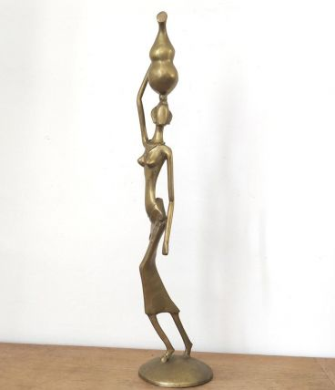Statuette porteuse d'eau laiton 54cm
