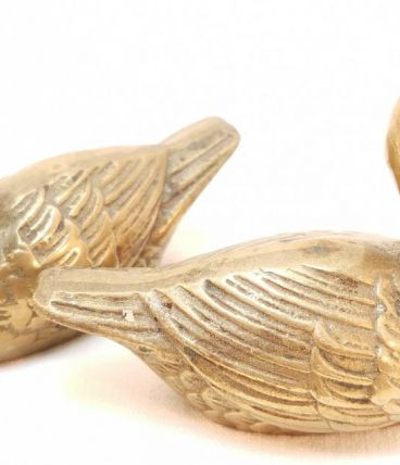 Paire de petits canards déco vintage en laiton.