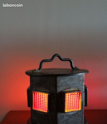 Lanterne chantier T.P années 60/70 transformée en lampe