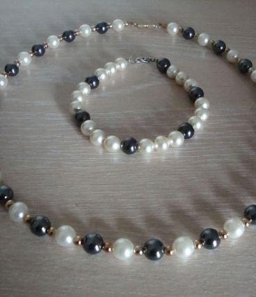 Parure ancienne collier et braelet perles et hematites
