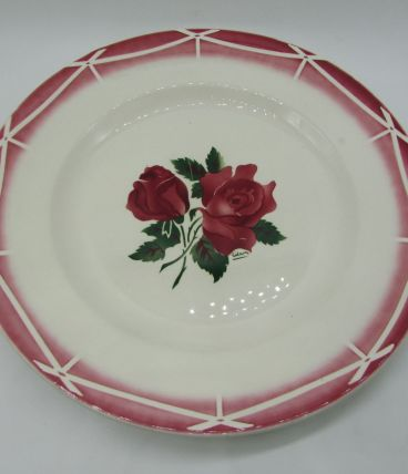 grand plat Digoin Sarreguemines Cibon décor de rose