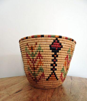 Plateau rond tressé style ethnique / africain