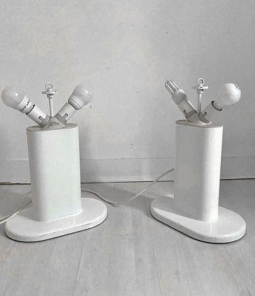 Paire de lampes blanche Guzzini vintage 70's