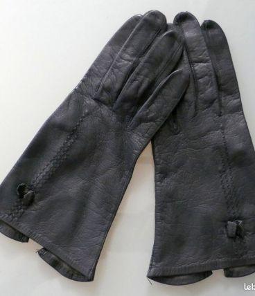 Gants en cuir noir femme taille 7