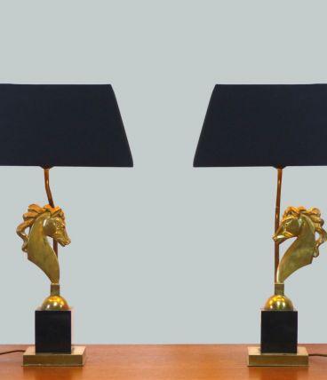 Paire de lampe hollywood Regency aux chevaux