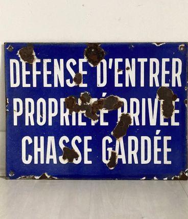 """Plaque émaillée vintage 50's """"Défense d'entrer"""""""