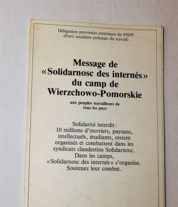 """Message de """"Solidarnosc des internés"""" du camp de Wierzchowo"""