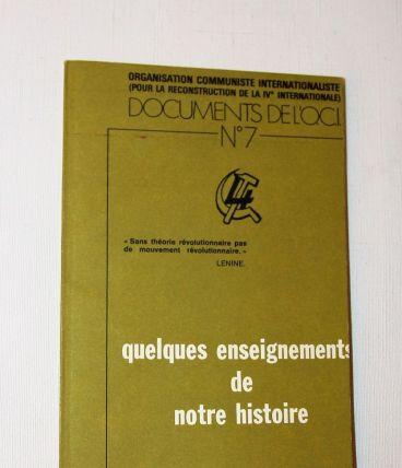 Documentation de l'OCI N°7. Quelques enseignements  ...