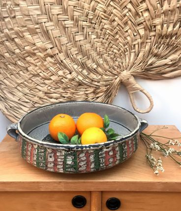 Grand plat ou coupe à fruits en céramique
