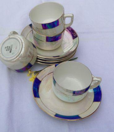 Lot 4 tasses et sous tasses anciennes Digoin