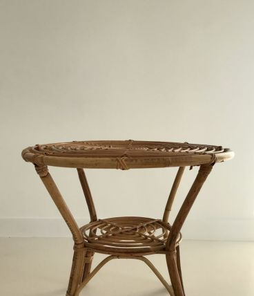 Table basse ronde en rotin Italie années 60