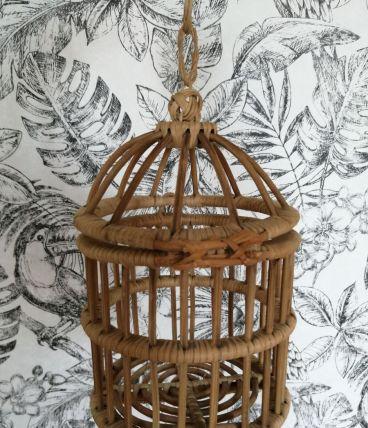Décoration petite  cage en osier et rotin